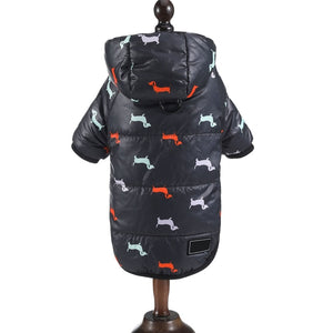 Autumn Winter Clothes For Dogs Dachshund Printed Cotton Down Jacket With Leash Ring Thicken Hoodie For Small Medium Dogs Puppy