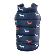Load image into Gallery viewer, Autumn Winter Clothes For Dogs Dachshund Printed Cotton Down Jacket With Leash Ring Thicken Hoodie For Small Medium Dogs Puppy