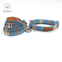 Load image into Gallery viewer, Blue Plaid Dog Collar With Bow Tie Basic Dog Cotton