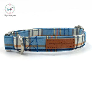 Blue Plaid Dog Collar With Bow Tie Basic Dog Cotton