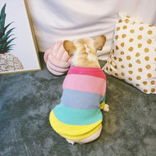 Load image into Gallery viewer, Rainbow Sweater knitted for small to medium sized dogs