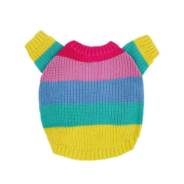 Rainbow Sweater knitted for small to medium sized dogs