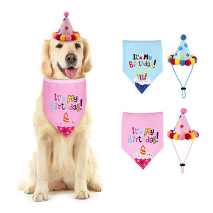 Birthday Bandana with Party Hat in Blue or Pink