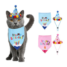 Load image into Gallery viewer, Birthday Bandana with Party Hat in Blue or Pink