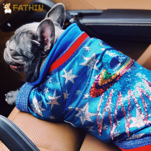 FATHIN French Bulldog Clothes Dog Hoodie Luxurious Adidog Warm Sport Retro Dog Hoodies Pet Clothes S-XL
