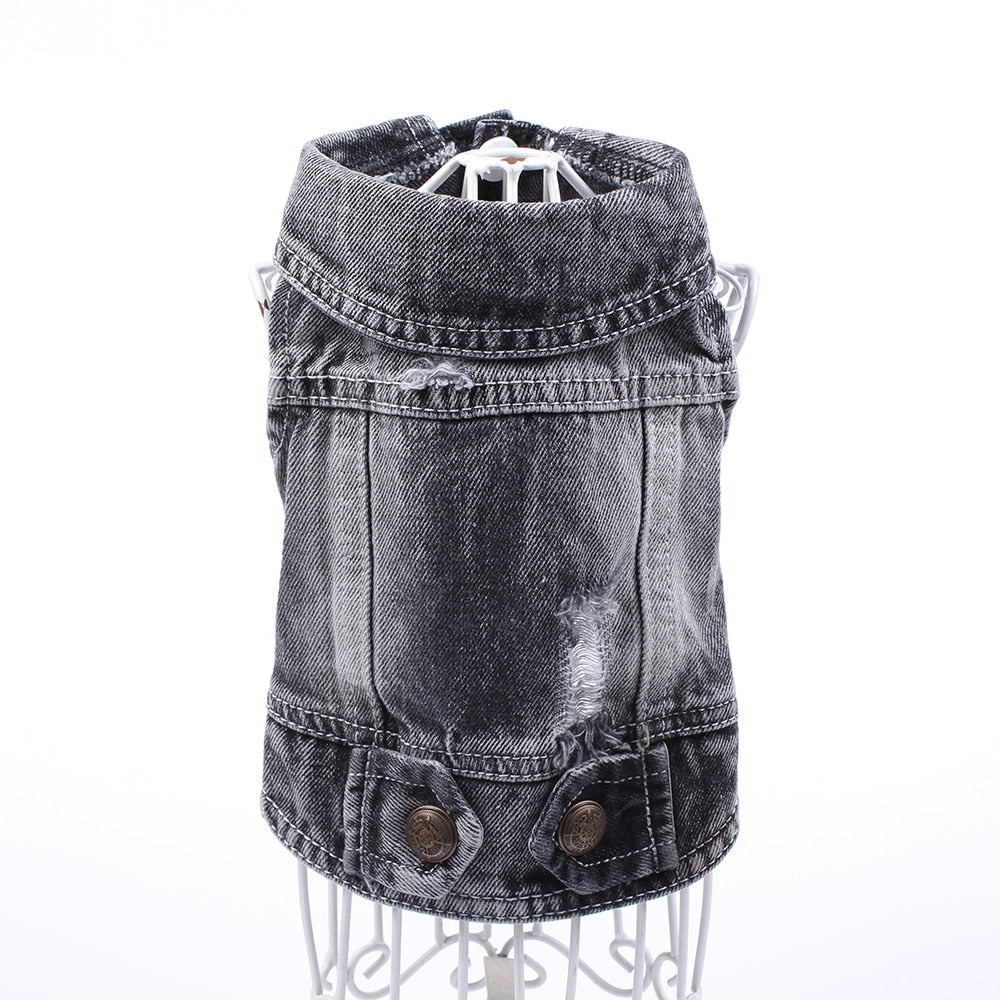 Black Denim Vest for small to medium sized dogs