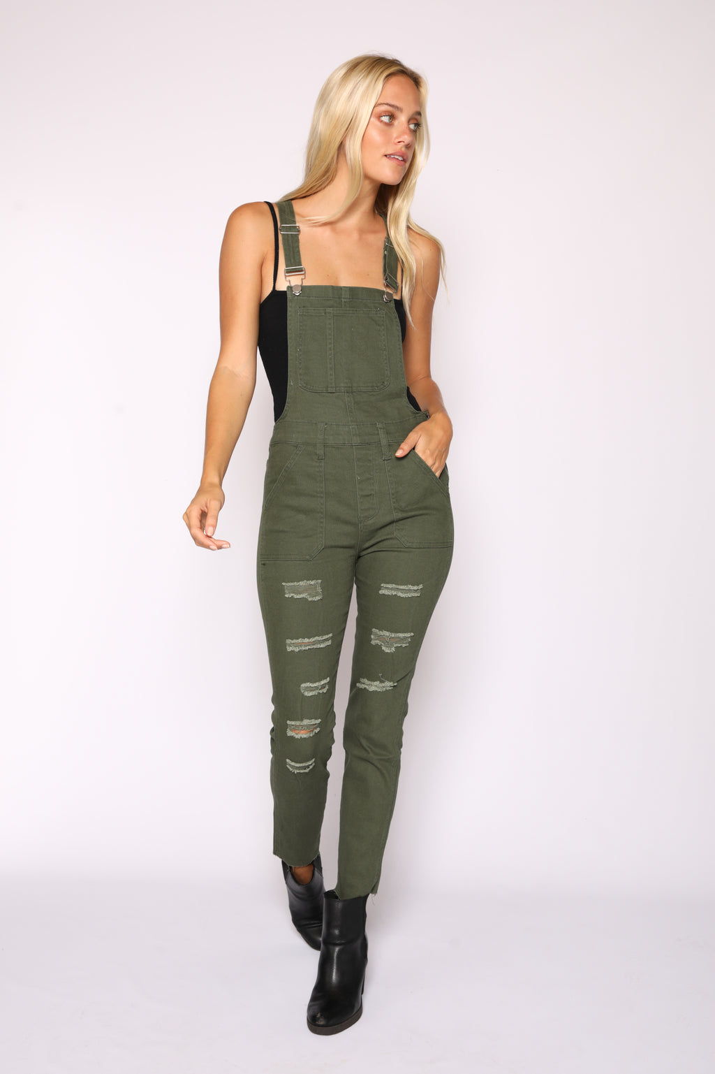 Olive Distressed Overalls