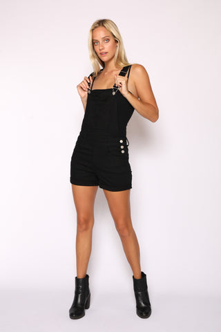 Womens Black Distressed Overalls