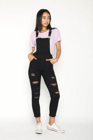 Womens Black Overall Shorts