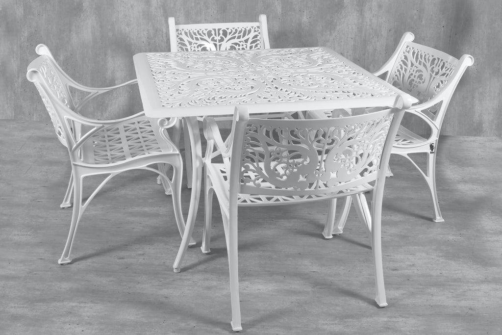 Vega Floral Square Table with 4Chairs (Set of 5)