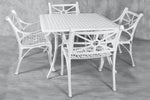 Vega Diamond Aluminium Square Dining Table with 4Chairs (Set of 5)
