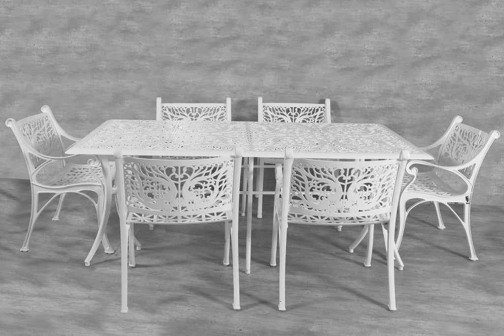 Vega Floral Rectangle Table and 6Chairs (Set of 7)
