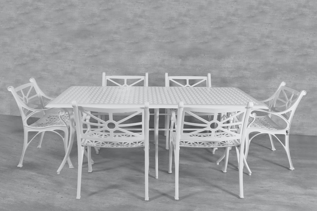 Vega Diamond Rectangle Table and 6Chairs (Set of 7)