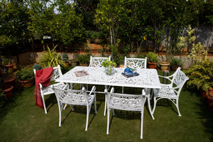 The Vega Floral Aluminium Outdoor Table - 6 Seater