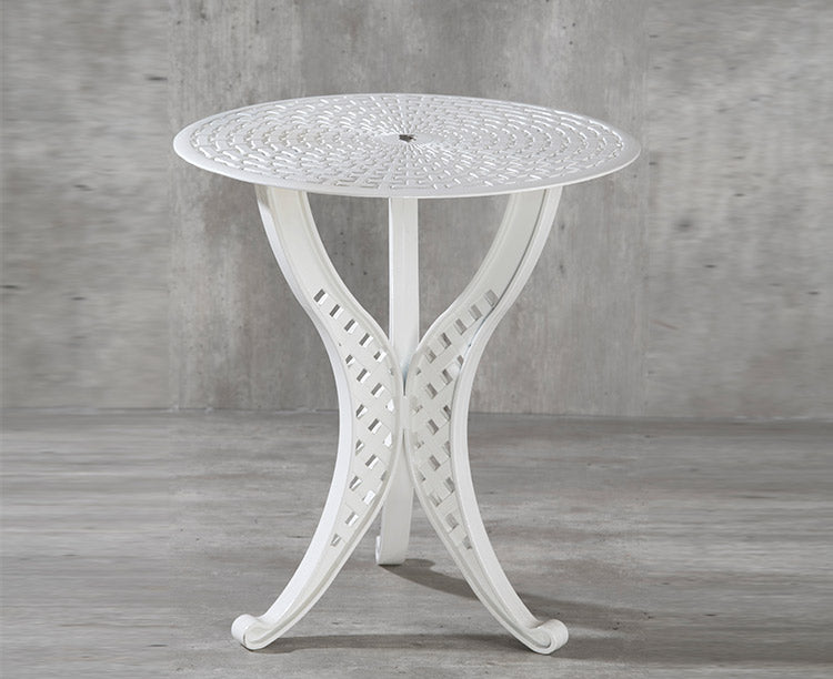 Orion Small Round Aluminium Table with 3 legs. Basketweave design