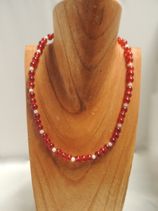 Crimson and Cream Glass Bead Necklace