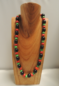 Mid-length Alternating Red-Black-Green Necklace