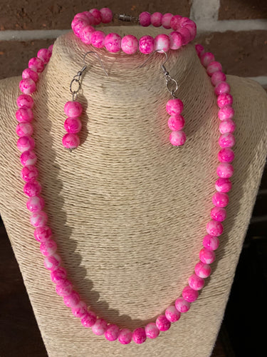 Hot Pink and White Glass Bead Set