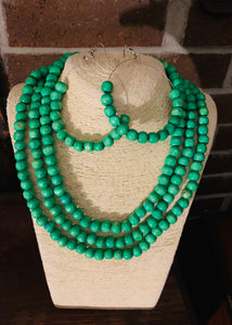 Triple Layer Necklace with Matching Earrings