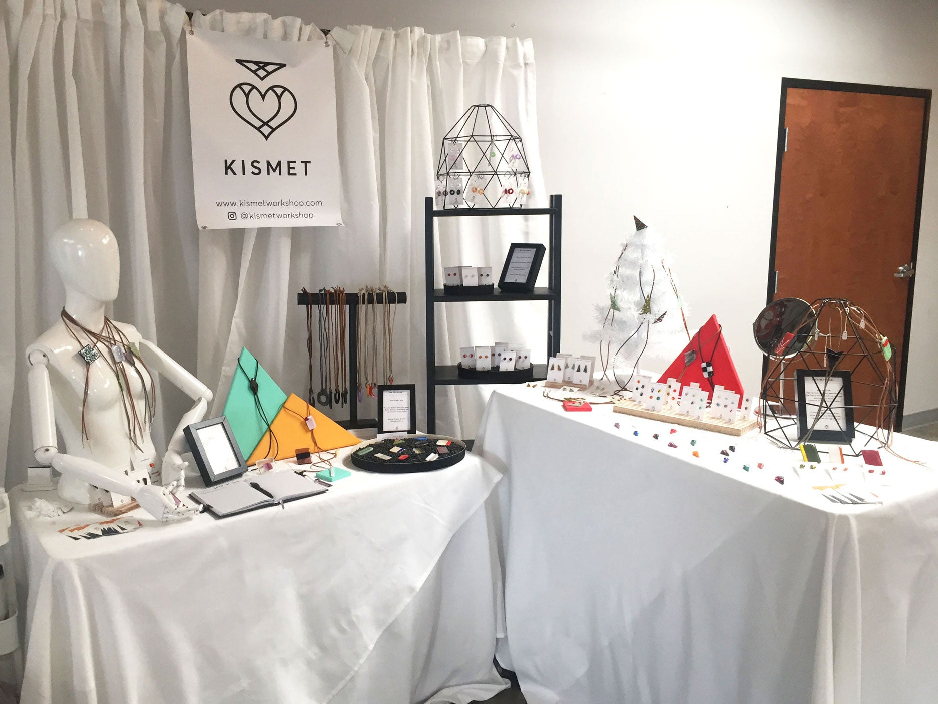 Kismet Workshop modern fused glass jewelry handmade with heart in Austin Texas by Katie, bolo, necklace, earrings, rings, retail display