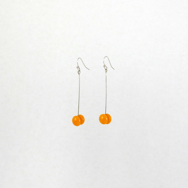 Handmade glass dot drop earrings in saffron yellow