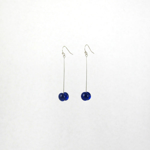 Handmade glass dot drop earrings in royal blue