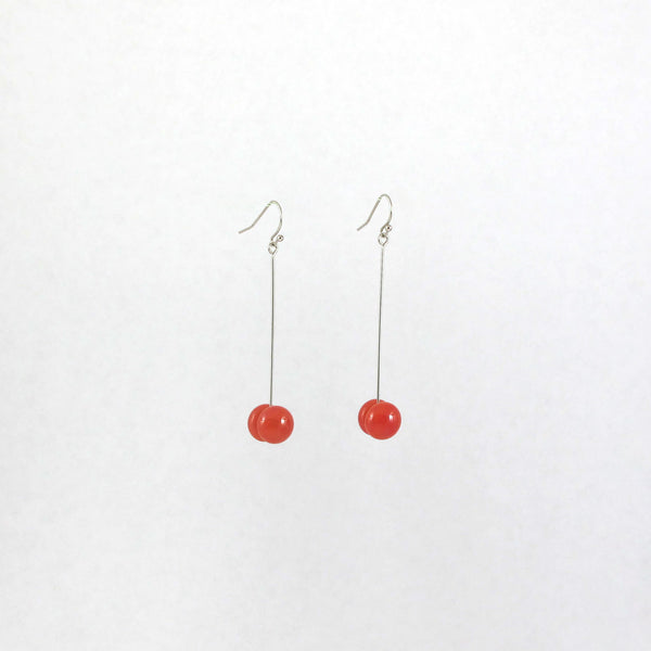 Handmade glass dot drop earrings in salmon pink