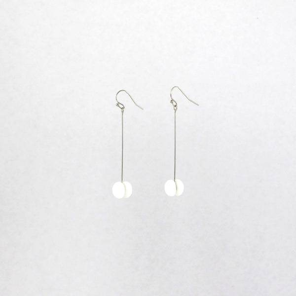 Handmade glass dot drop earrings in white