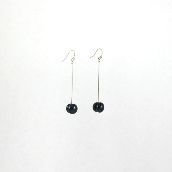 Handmade glass dot drop earrings in midnight blue