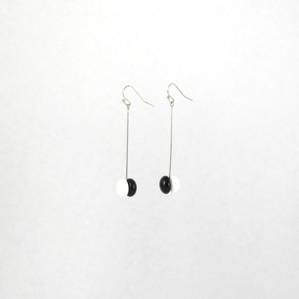 Handmade glass dot drop earrings in black and white