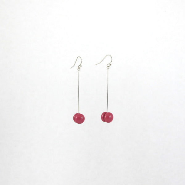 Handmade glass dot drop earrings in deep pink