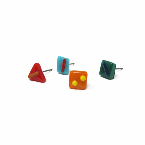 Kismet's stud confetti earring mix shown in bright colors