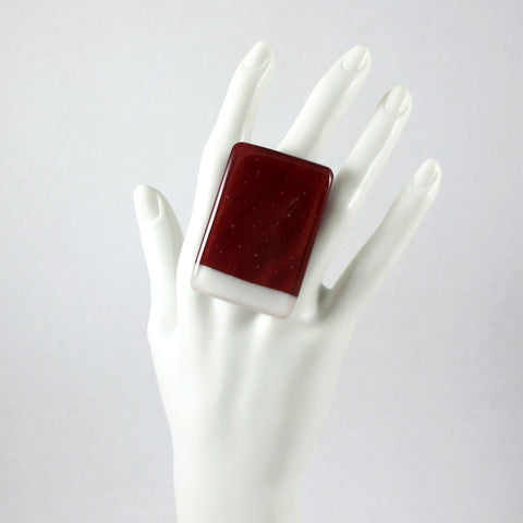 Handmade glass statement cocktail ring with adjustable silver back, rectangle in red and white