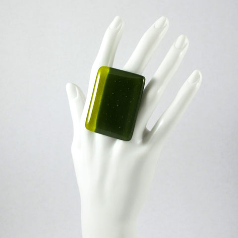 Handmade glass statement cocktail ring with adjustable silver back, rectangle in green and gold