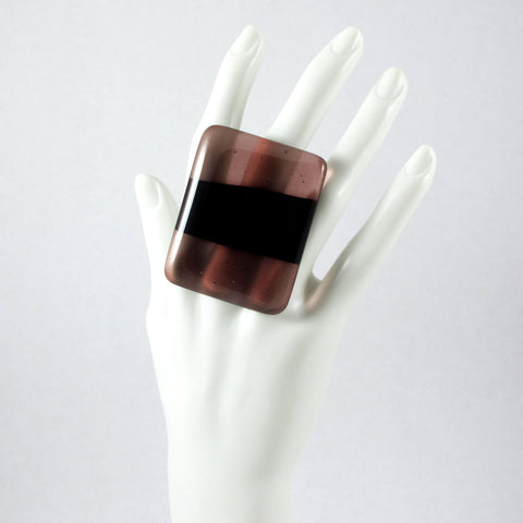 Handmade glass statement cocktail ring with adjustable silver back, rectangle in dark and light purple eggplant plum