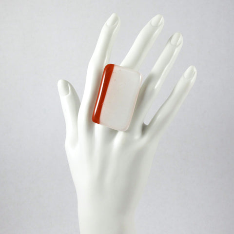 Handmade glass statement cocktail ring with adjustable silver back, rectangle in white and burnt orange