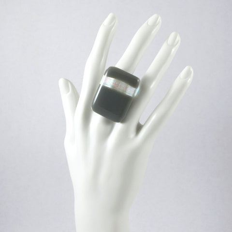 Handmade glass statement cocktail ring with adjustable silver back, rectangle in gray and transluscent iridescent