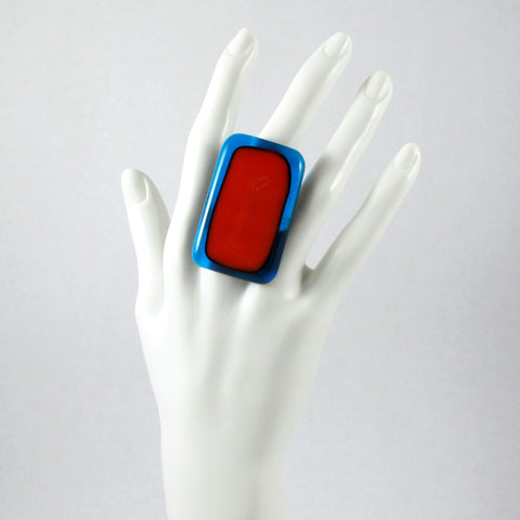 Handmade glass statement cocktail ring with adjustable silver back, rectangle in red and aqua blue