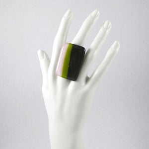 Handmade glass statement cocktail ring with adjustable silver back, rectangle in pink, lime green and gray