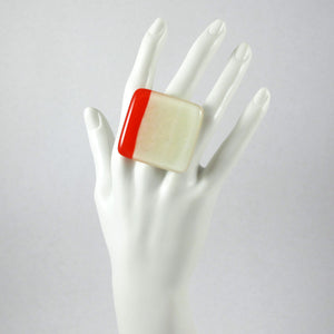 Handmade glass statement cocktail ring with adjustable silver back, square in cream and red