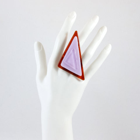 Handmade glass statement cocktail ring with adjustable silver back, triangle in pink