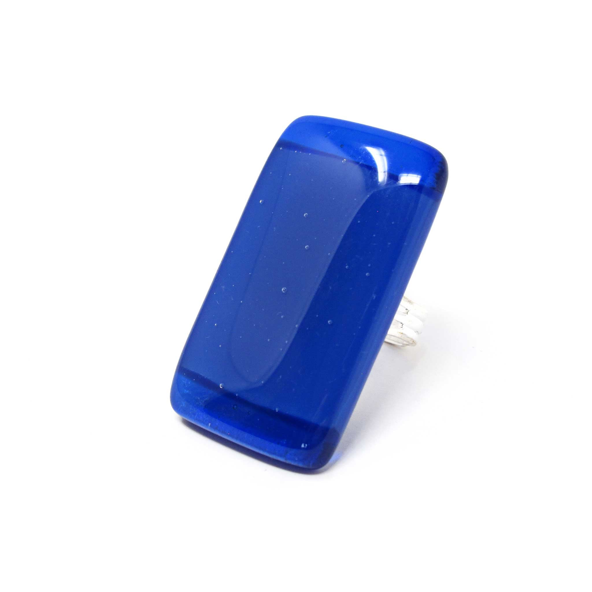 KISMET rectangle statement cocktail ring in cobalt blues