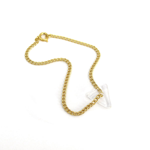 Katie Kismet clear Tri Bracelet on gold chain