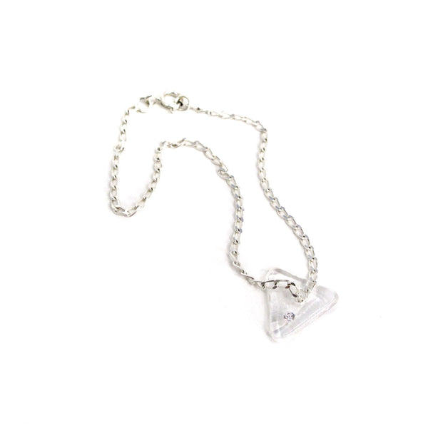 Katie Kismet clear Tri Bracelet on silver chain with faux diamond embed