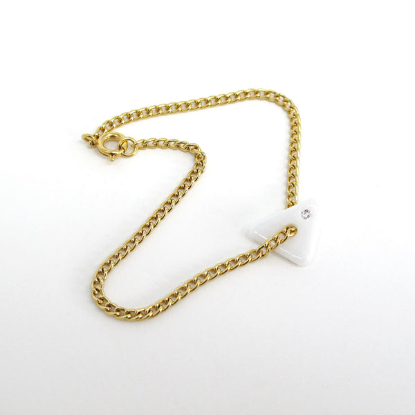 Katie Kismet white Tri Bracelet on gold chain with faux diamond embed