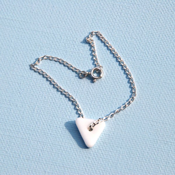 Katie Kismet white Tri Bracelet on silver chain