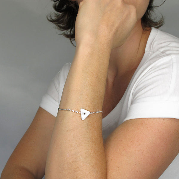 Katie Kismet Tri Bracelet in white shown on model