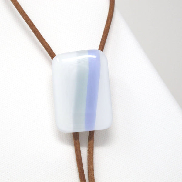 Pastel green and blue on white glass bolo tie necklace on brown leather cord with sterling silver tips