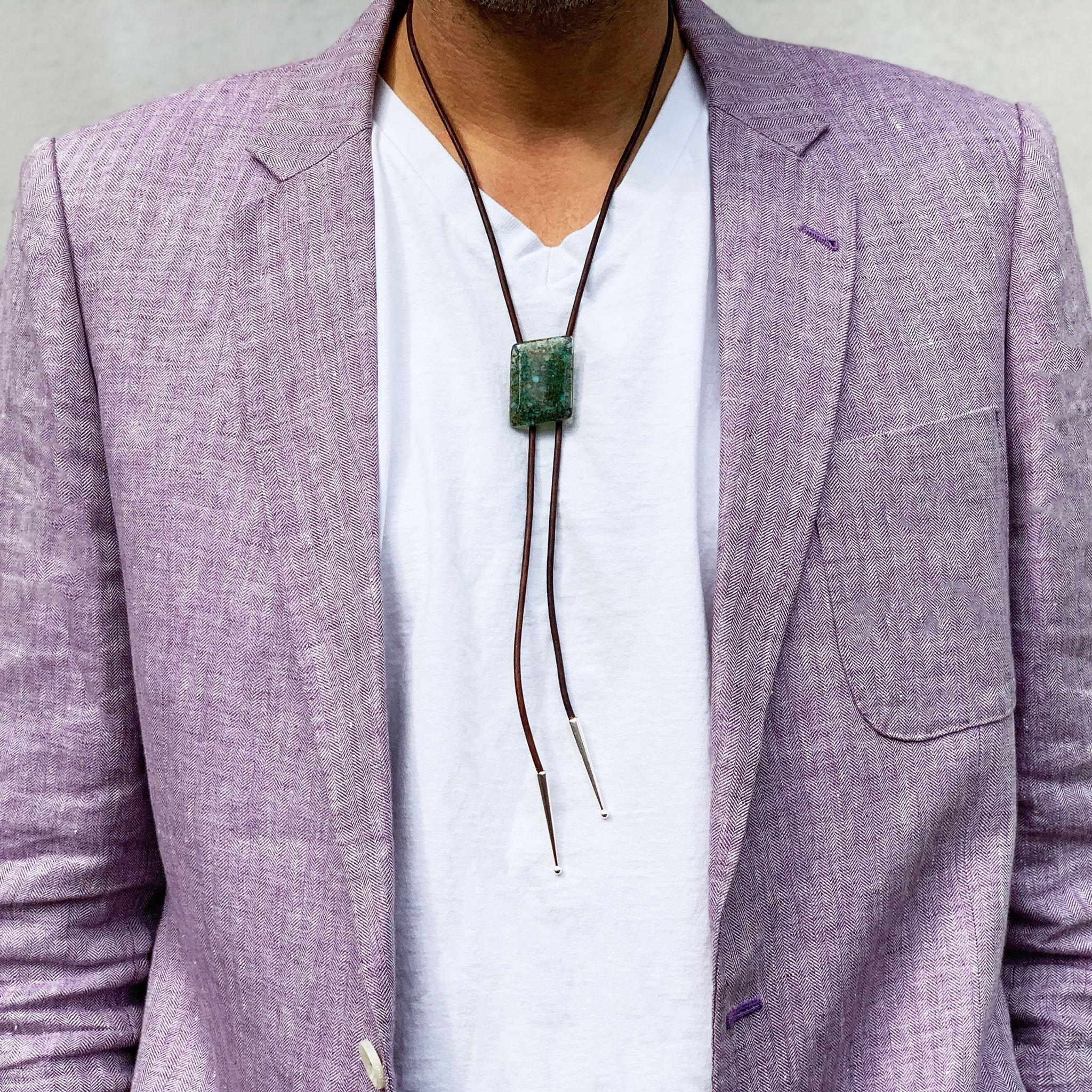 Kismet Workshop Symphony Edition modern glass bolo tie necklace on brown leather with silver tips, turquoise stone