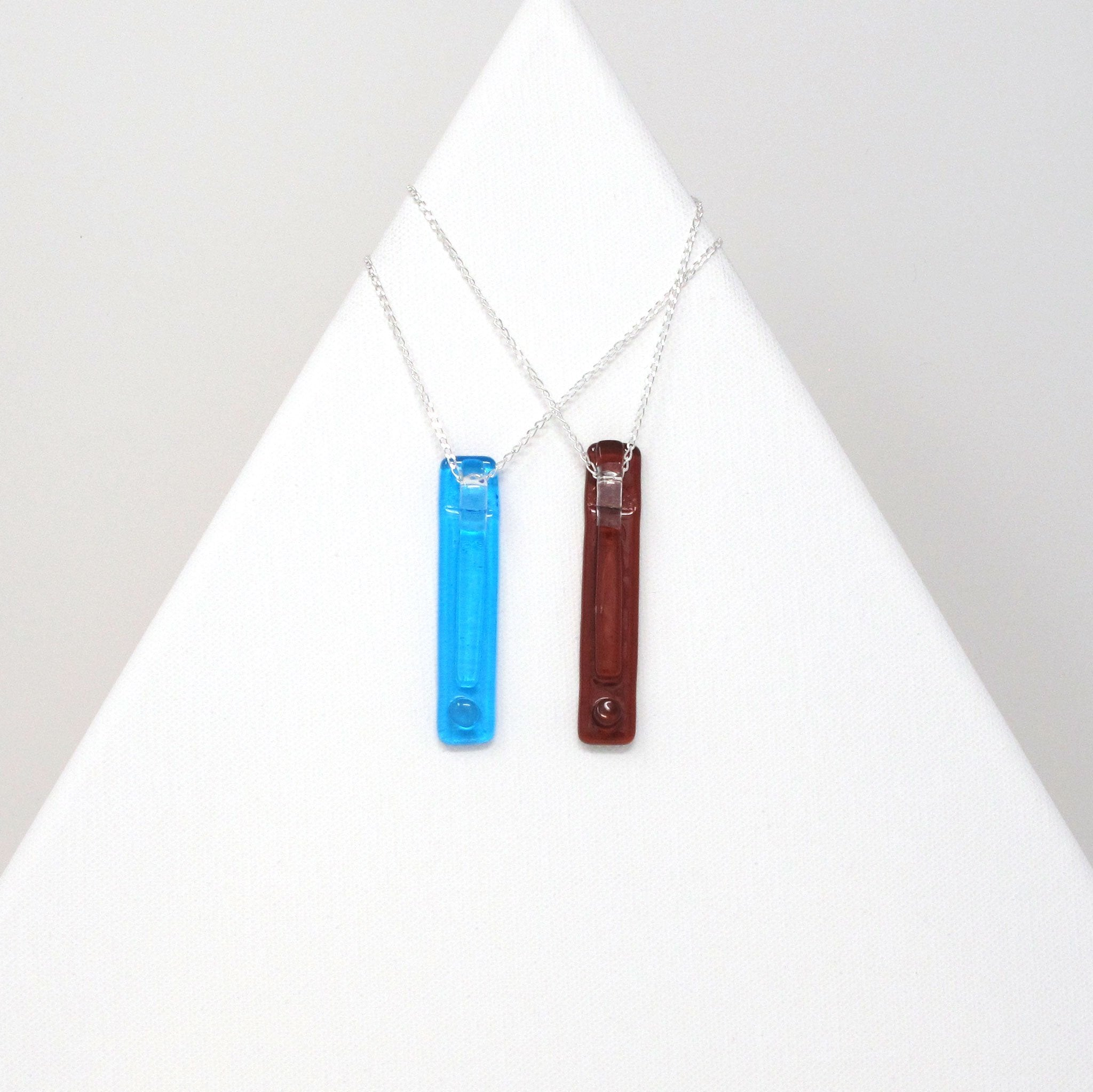 Glass bar pendant necklace on 32 inch sterling silver chain, exclamation points in various colors
